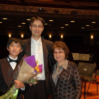 With San Diego Symphony Conductor Ken-David Masur after Andrew Zhao Performance with the Symphony.