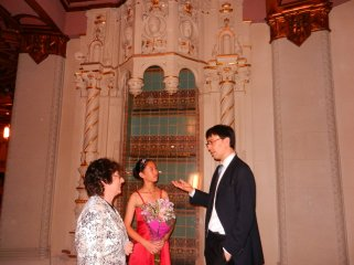After performing with San Diego Symphony, Sophia Su with Inessa Litvin and Conductor Ken-David Masur